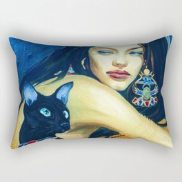 Girl and black cat Rectangular Pillow