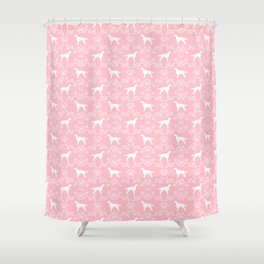Irish Setter floral dog breed silhouette minimal pattern pink and white dogs silhouettes Shower Curtain