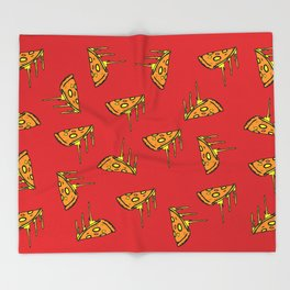 Pepperoni Pizza Dripping Cheese by the Slice Pattern (red) Throw Blanket
