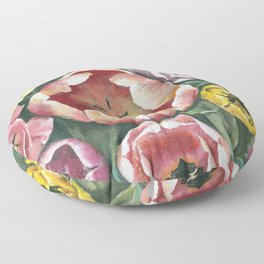 Colorful Spring Tulips Painting Floor Pillow