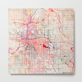 Grand Rapids map Michigan painting Metal Print