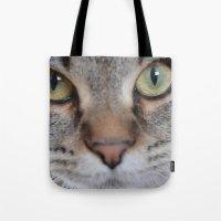 arya Tote Bags featuring Cat by Kellie Eickstead