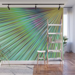 Rainbow rays in blue, abstract print, diagonal lines, ocean colors Wall Mural