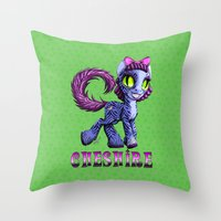 cheshire cat Throw Pillows featuring Cheshire by Jolie Bonnette Art