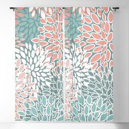 Teal and Coral Floral Pattern Blackout Curtain