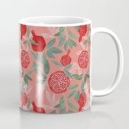 Pomegranate garden on peach pink Coffee Mug