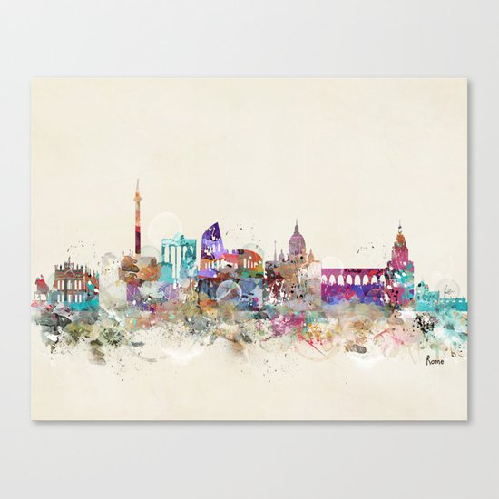 rome skyline vintage Canvas Print