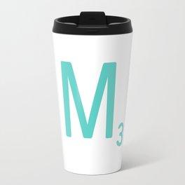 Blue Letter M Scrabble Tiles Travel Mug