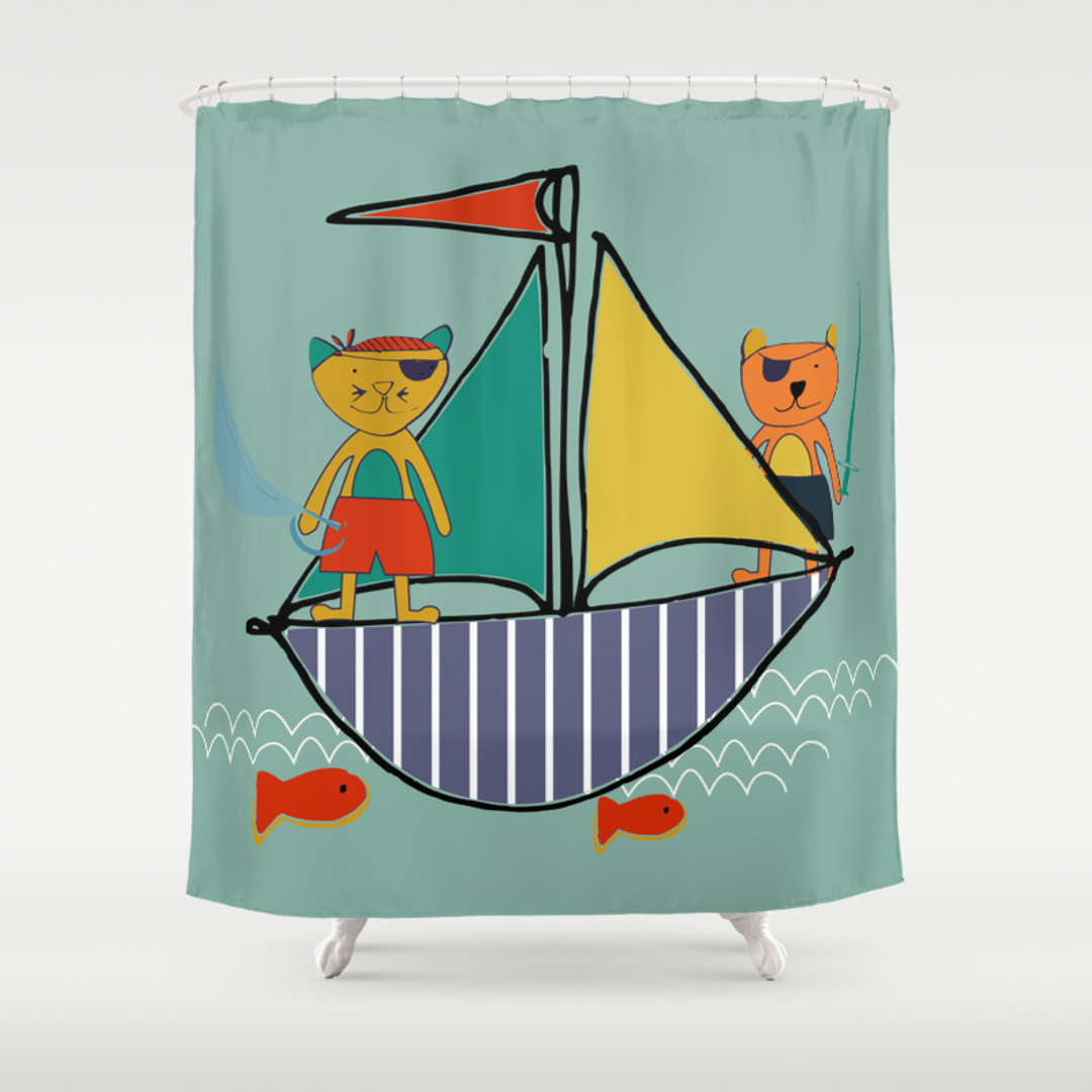 Jolly roger shower curtain - Jolly Roger Shower Curtain 41