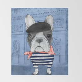 Frenchie with Arc de Triomphe Throw Blanket