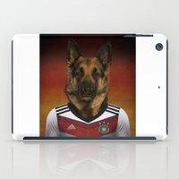german shepherd iPad Cases featuring Worldcup 2014 : Germany - German Shepherd by Life on White Creative