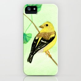 Yellow Finch Watercolor iPhone Case