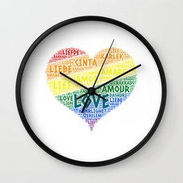LGBT Rainbow Hearth Flag illustrated with Love Word of different languages Wall Clock