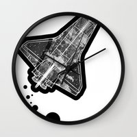 ufo Wall Clocks featuring UFO by MAKE ME SOME ART
