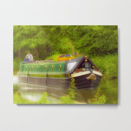 Canal Boat Painted Metal Print