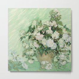 Vase With Pink Roses by Vincent Van Gogh Metal Print