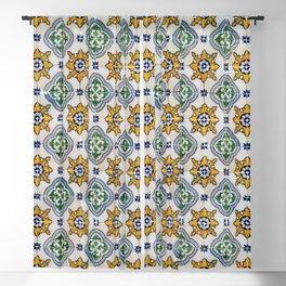 Mediterranean Vintage Blue and Orange Tiles Blackout Curtain