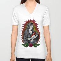 sriracha V-neck T-shirts featuring Santa Sriracha by Beast Babies