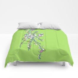 1950s / 1960s Retro Floral Flower Stem Pattern Comforters