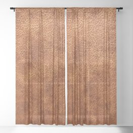 Brown vintage faux leather background Sheer Curtain