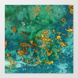 Malachite and Gold Glitter Stone Ink Abstract Gem Glamour Marble Canvas Print