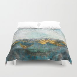 Lapis - Contemporary Abstract Textured Floral Duvet Cover