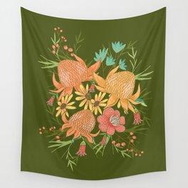 Australian Florals in Green Wall Tapestry