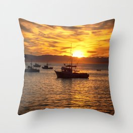 The Best Part of Waking Up boats in Port San Luis at Sunrise Throw Pillow