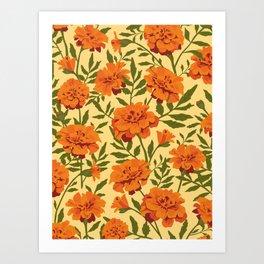 Marigold Flowers Pattern Art Print
