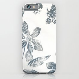 Silver clematis iPhone Case