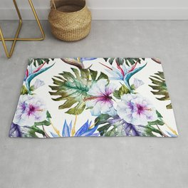 Watercolor Tropical Hibiscus Rug