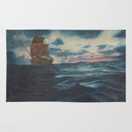 Sailing Boat- in oil Rug