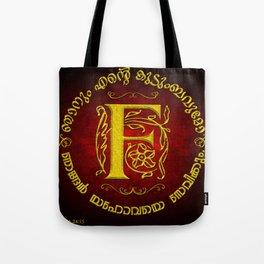 Joshua 24:15 - (Gold on Red) Monogram F Tote Bag