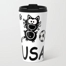 USA Katze Catpaw Ball Cats Soccer T-Shirt Fun Travel Mug