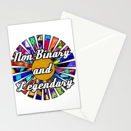 Non-Binary and Legendary Graffiti Sunrays Stationery Cards