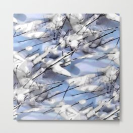 Snow on twigs Metal Print