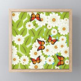 Daisies and butterflies Framed Mini Art Print