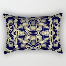 dark blue Digital pattern with circles and fractals artfully colored design for house and fashion Rectangular Pillow