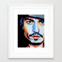 johnny depp Framed Art Prints featuring Johnny Depp by iankingart