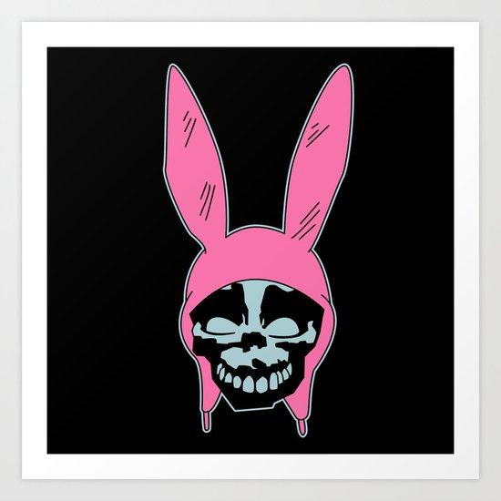 Grey Rabbit/Pink Ears Art Print