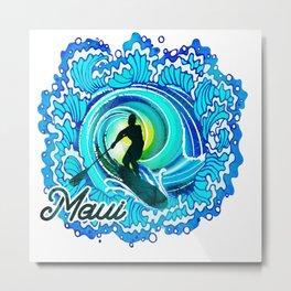 Sup paddle Boarder Beautiful Ocean Blue SPLASH Metal Print