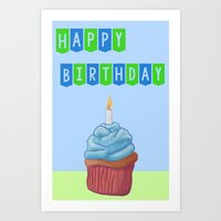 Birthday Cupcake Blue Art Print