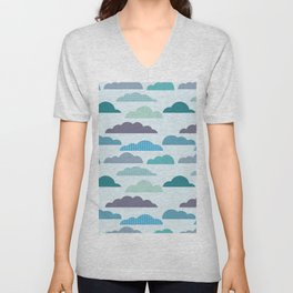 Rainy autumn seamless pattern with clouds Unisex V-Neck