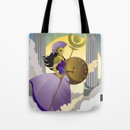 greek roman goddess athena minerva with shield and staff in the sky Tote Bag