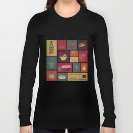 Vintage Food Collage Old Style Long Sleeve T-shirt