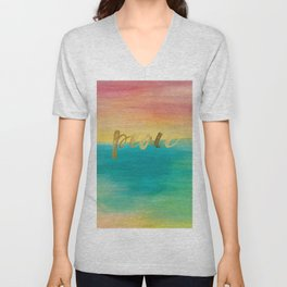 Peace, Ocean Sunset 3 Unisex V-Neck