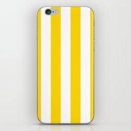 Vertical Stripes - White and Gold Yellow iPhone Skin