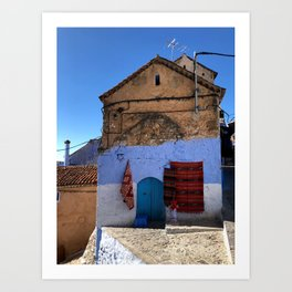 Red Blankets, Chefchaouen, Morocco Art Print