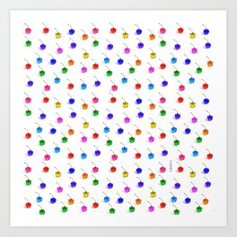 3D Glass Rainbow Cherries Pattern Art Print