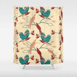 Birds and leaves Shower Curtain